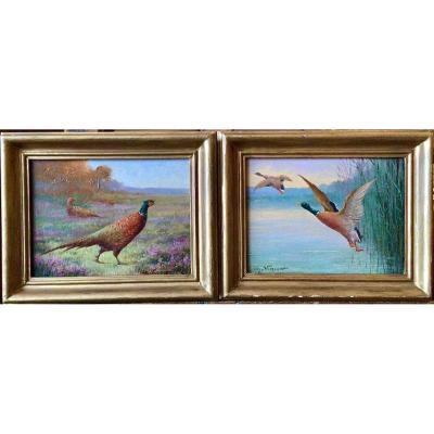 Pheasants And Ducks By Charles Virion (1865-1946)