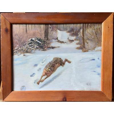 Le lièvre et les chevreuils dans la neige par Édouard Mérite (1867-1941)