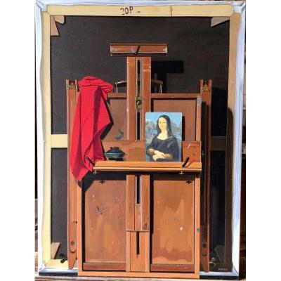 Trompe-l'oeil au dos de tableau et au chevalet par Charles Perron (1928-1991)