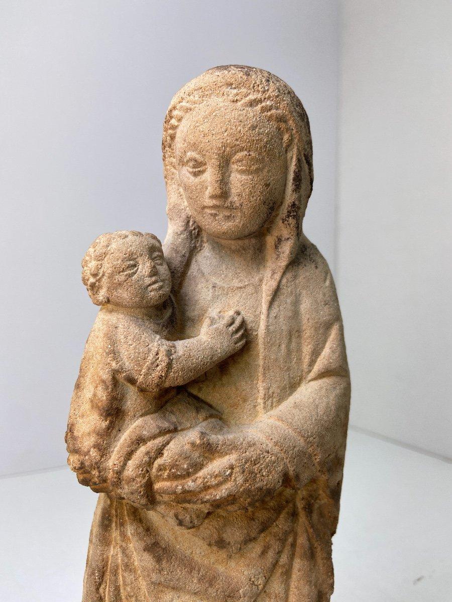 Sculpture En Grès, Vierge à l'Enfant - Vers 1930-photo-4
