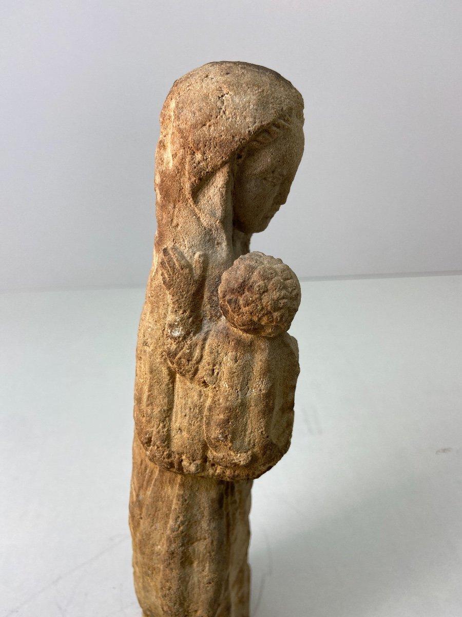 Sculpture En Grès, Vierge à l'Enfant - Vers 1930-photo-1
