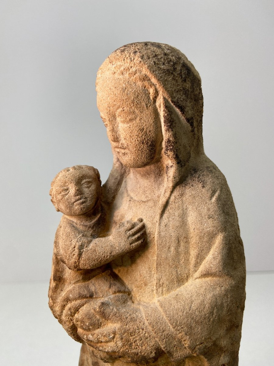 Sculpture En Grès, Vierge à l'Enfant - Vers 1930-photo-3