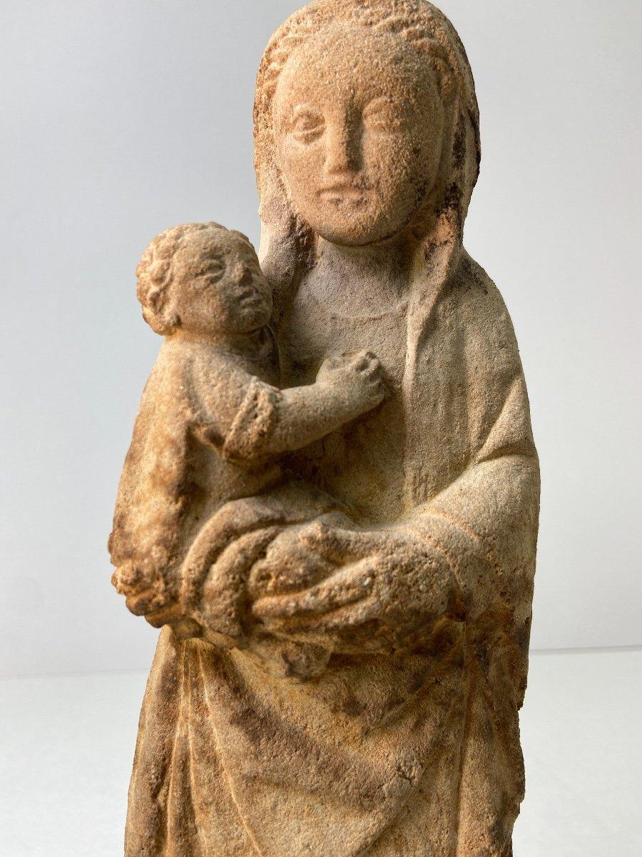 Sculpture En Grès, Vierge à l'Enfant - Vers 1930-photo-5