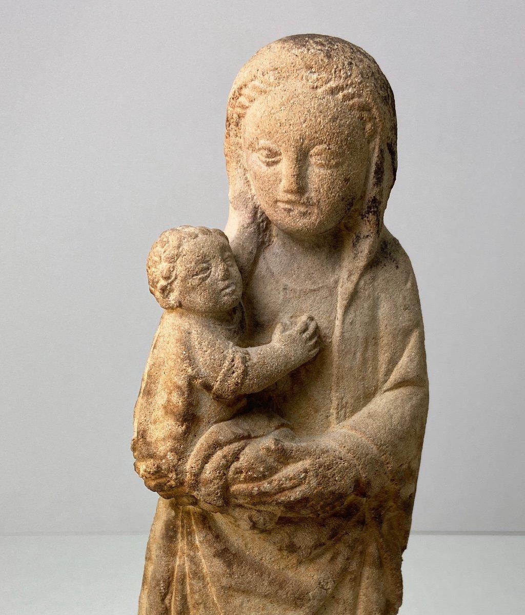 Sculpture En Grès, Vierge à l'Enfant - Vers 1930-photo-7