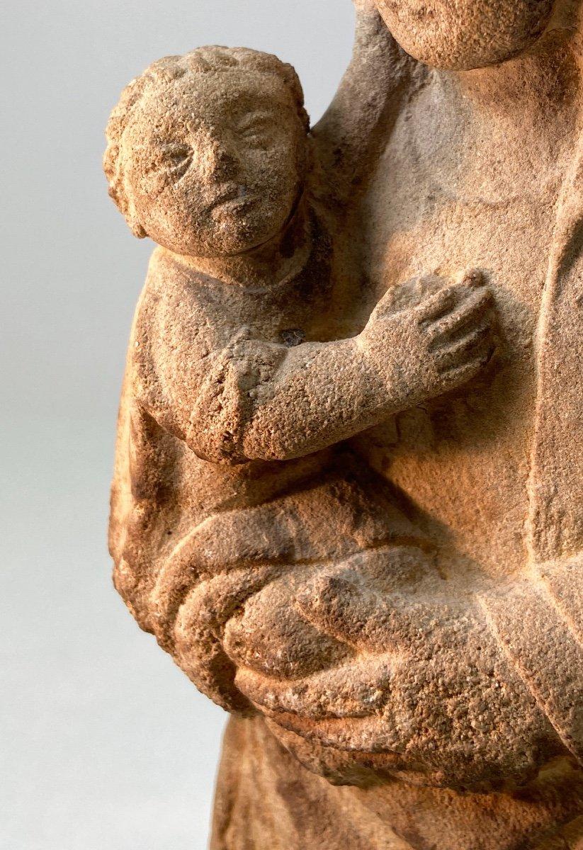Sculpture En Grès, Vierge à l'Enfant - Vers 1930-photo-8