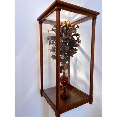 A Vase With Flowering Plant - Ca. 1900 - Wood Carving - Leuven
