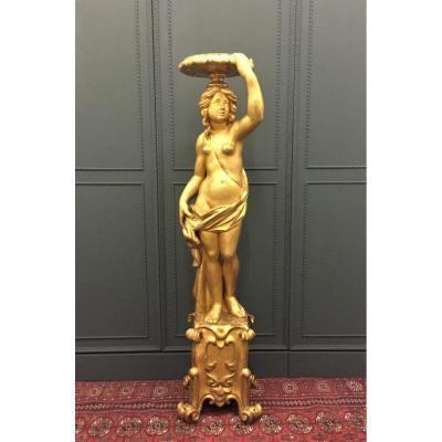 Sculpture Gueridon In Golden Wood Louis XIV