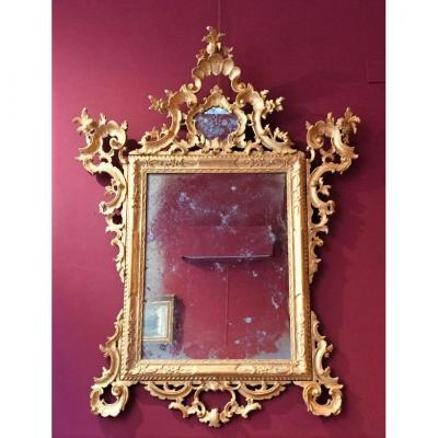 Venetian Mirror Carved And Gilded 19th Century