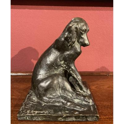 Sculture Of Seated Dog,  Bronze Early 20th Century