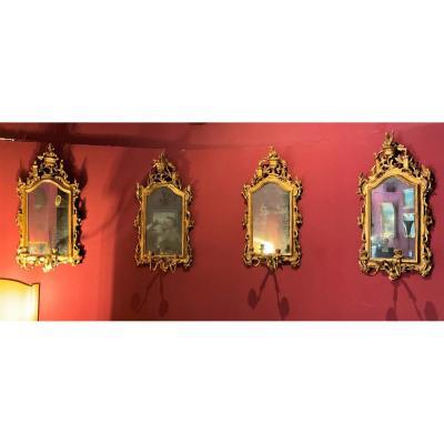 Rare Set Of Four 18th Century Venetian Mirrors