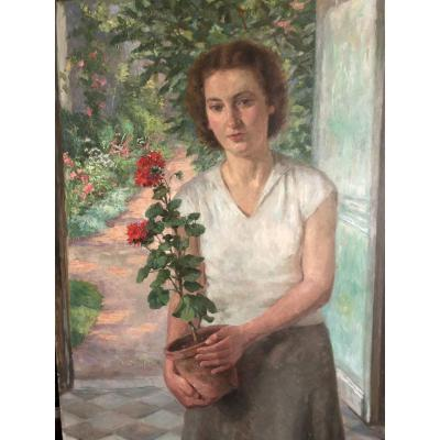 Large Portrait Of A Young Woman Coming Out Of Her Garden