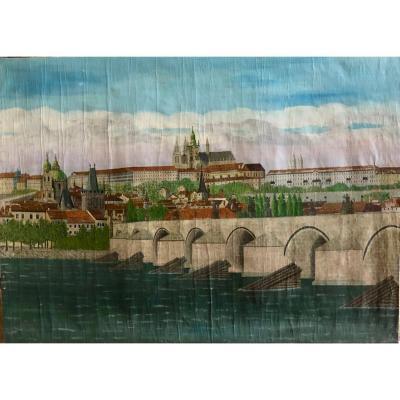 Très grande peinture naive de Prague