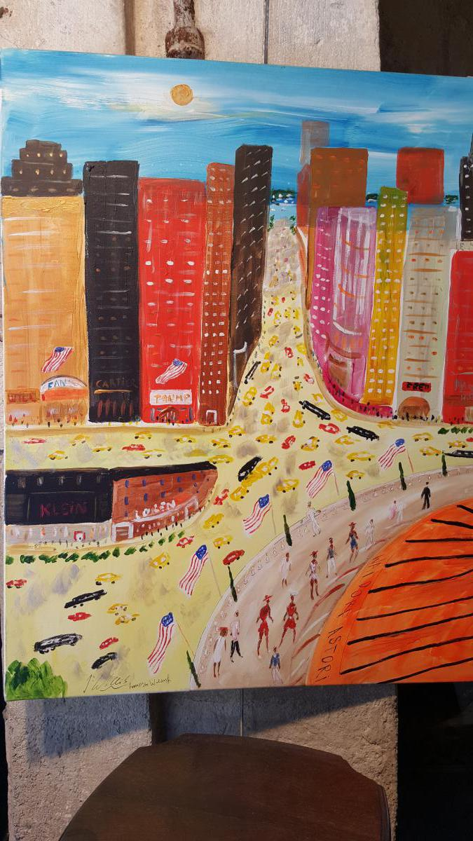 Tableau Contemporain :vue De New York Par J.wallis