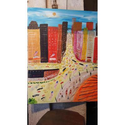 Tableau Contemporain :vue De New York Par J.wallis