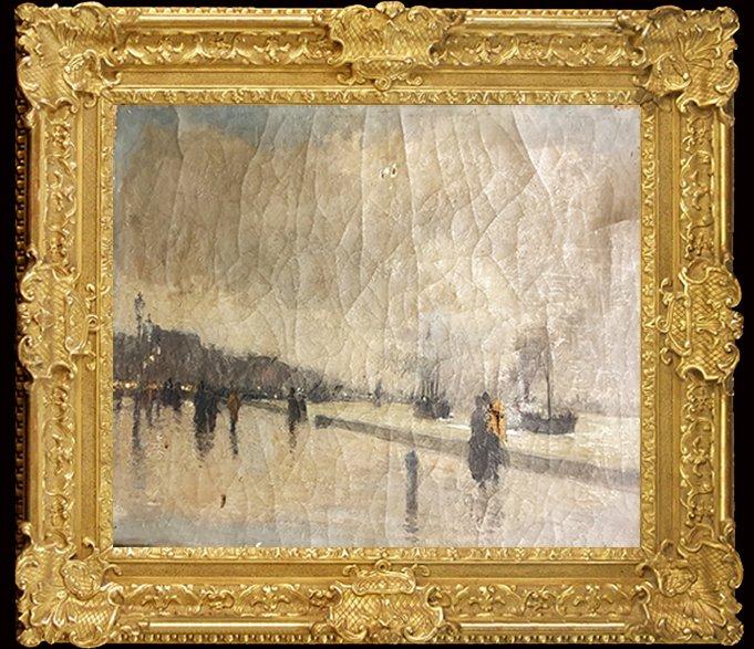 Oil On Canvas Postimpressionist 1886 The Quais Du Havre Signed