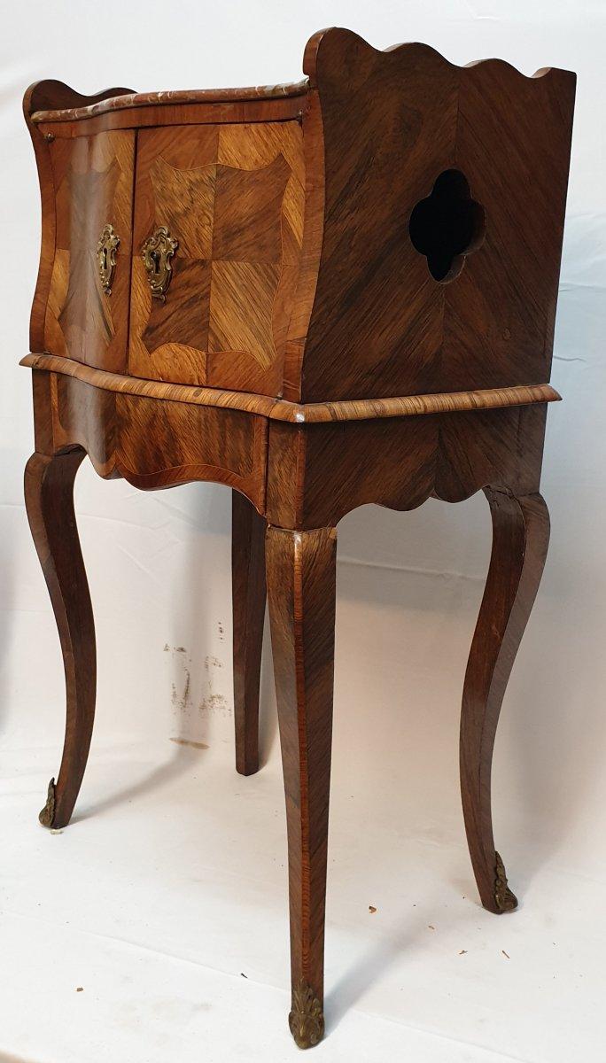 Meuble d'Entre-deux Louis XV Table à Encas Galbé XVIIIème En Marqueterie