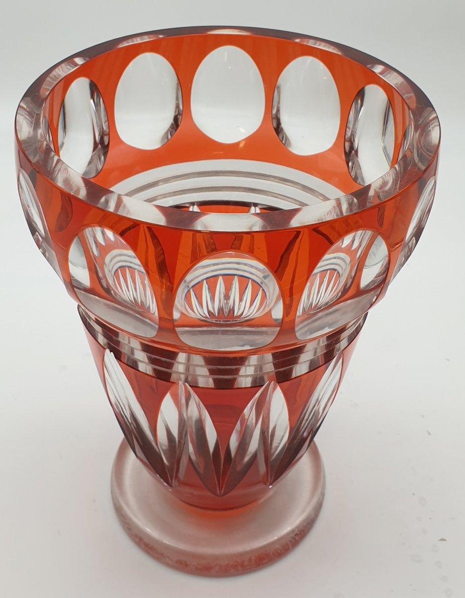Vase Cristal Joseph Simon Val Saint Lambert Epoque Art Deco Vers 1925. -photo-4