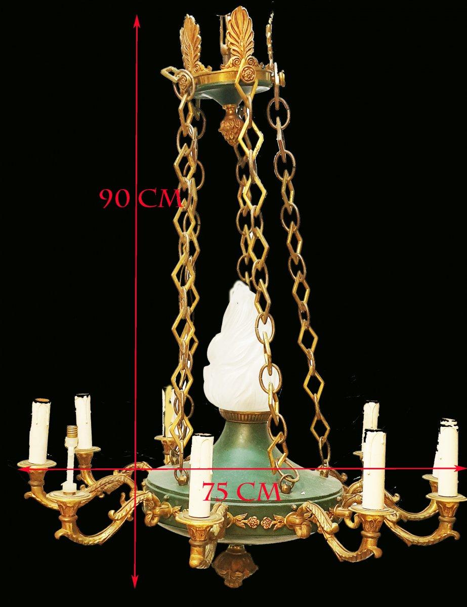 Important Lustre De Style Empire 11 Lumières En Bronze Doré Et Tôle Laquée Verte-photo-2