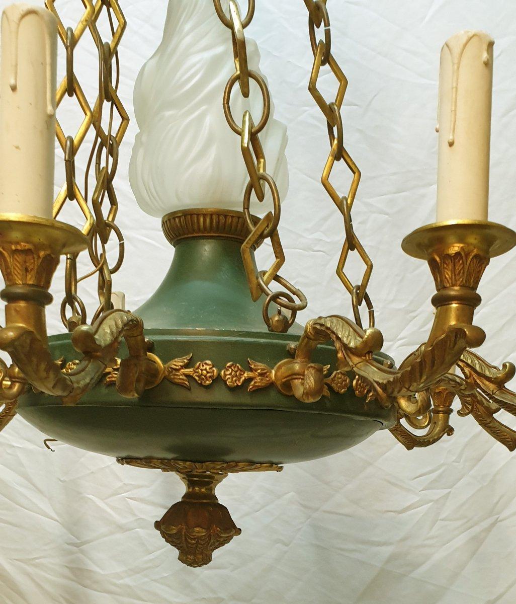 Important Lustre De Style Empire 11 Lumières En Bronze Doré Et Tôle Laquée Verte-photo-3