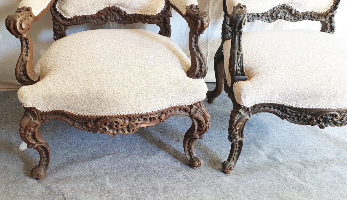 Paire De Fauteuils d'Apparat Liégeois XIXeme Richement Sculptés XIXeme -photo-1