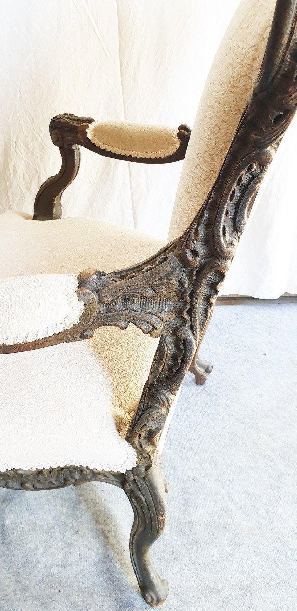 Paire De Fauteuils d'Apparat Liégeois XIXeme Richement Sculptés XIXeme -photo-2