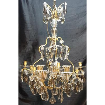 Chandelier Cage 16 Lights Bronze And Crystal Napoleon III Height 95 Cm