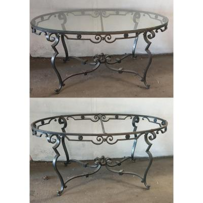 Raymond Subes Oval Middle Table Wrought Iron Circa 1940