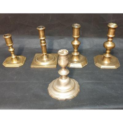 5 Bougeoirs Bronze Quatre 17 éme Et Un 18eme Haute Epoque Candlestick