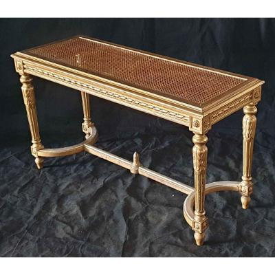 Golden Bench Of Piano Louis XVI Style Golden Cane
