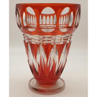 Vase Cristal Joseph Simon Val Saint Lambert Epoque Art Deco Vers 1925.