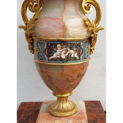 Vase En Onyx d'Algérie Par Eugène Cornu Fin XIXe Siècle