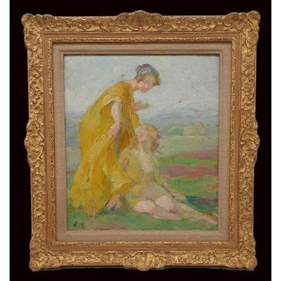 Édouard François Zier Deux Jeunes Femmes En Discutions Sur l'Herbe Circa 1900