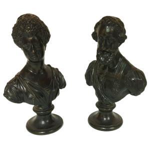 Guillaume Dupré Barthélemy Prieur Henri IV & Marie De Medicis Buste  Bronze Petite Nature XVIII