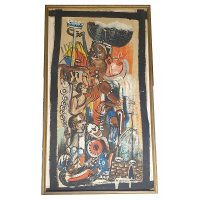 Importante Huile Sur Papier Africanisme Circa 1940