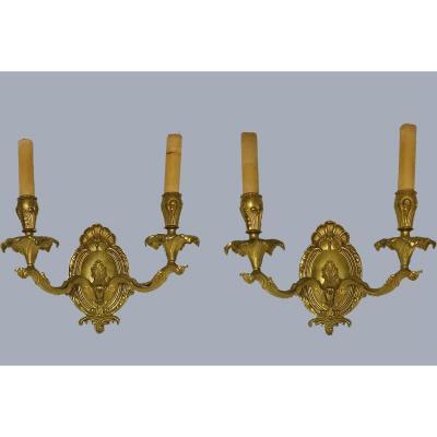 Paire d'Appliques En Bronze DorÉ De Style Louis XV xxème