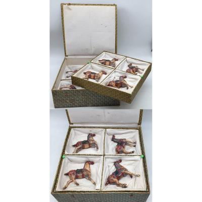 China The Horses Of King Mu In Carved Bone And Polychrome Nineteenth In Box