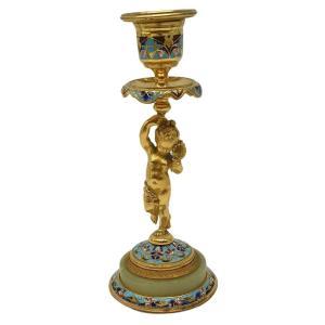 Bougeoir Cloisonné Et Bronze DorÉ XIXeme Enfant Puti Cherubin Au Miroir