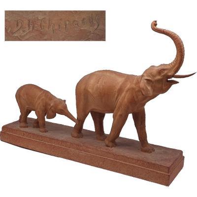 Demetre Chiparus Sculpture En Terre Cuite  Une éléphante Barrissant Et Son éléphanteau