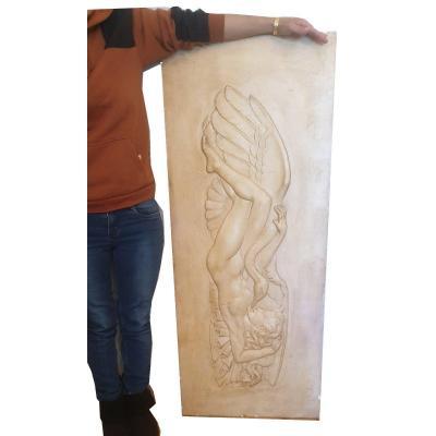 Important Bas-relief Léda Et Le Cygne Art Déco En Stuc Patiné