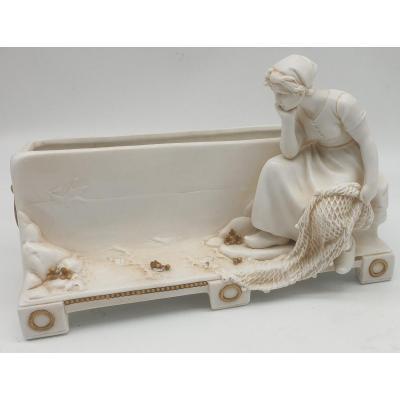 Muller Porcelaine Allemande Importante Jardiniere Porcelaine Bisquit