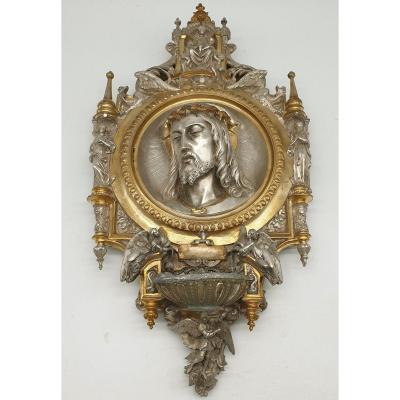 Christ Bronze Deux Patines Attribuée à Louis Bachelet dans le goût Viollet Le Duc Pièce Muséal