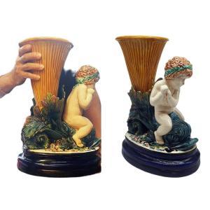 Importante Barbotine Majolica Ceramique Probablement Minton Ou Sarreguemine H 40 Cm