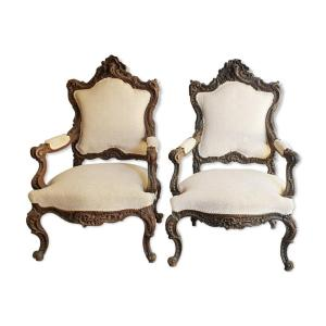 Pair Of Armchairs Of Liégeois Apparat XIXth Richly Carved XIXth