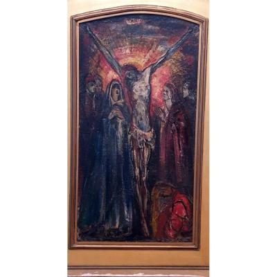 Oil On Panel Crucifixion Circa 1930/1940 Signature Lower Left