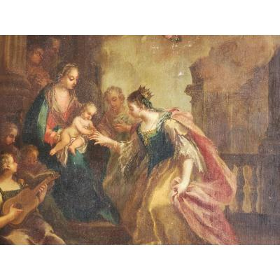 Francesco Maffei The Mystical Marriage Of Saint Catherine Oil On Canvas With Expertise Made