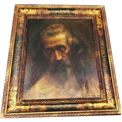 Oil On Canvas Portrait Of A XIXth Century Old Man In A Beautiful Frame