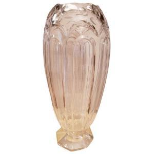 Vase Val Saint Lambert Adp9 Cristal Taillé Création Joseph Simon Critaux Fantaisie 1926 poids 6