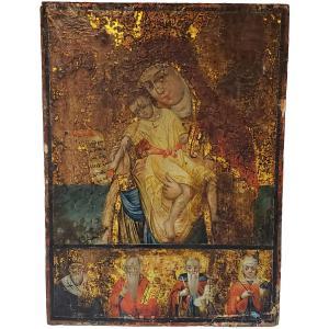 Icône Russe Vierge De Vladimir Au Tempera 18eme Siecles Voir 17eme
