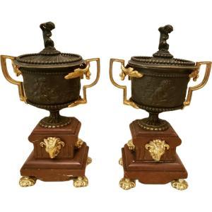 Paire De Cassolettes En Bronze Et Marbre Truquin Napoleon III