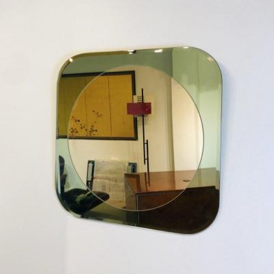 Green Cut Glass Mirror, Italy 1980s.